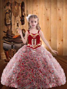 Floor Length Red Pageant Dress Womens Fabric With Rolling Flowers Sleeveless Embroidery and Ruffles