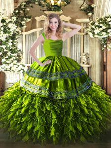 Top Selling Organza Straps Sleeveless Zipper Beading and Lace and Ruffles Quinceanera Dresses in Olive Green