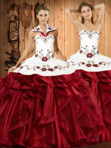 Extravagant Wine Red Quinceanera Gown Military Ball and Sweet 16 and Quinceanera with Embroidery and Ruffles Halter Top Sleeveless Lace Up