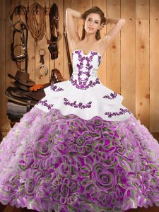 Chic Strapless Sleeveless Sweep Train Lace Up Quince Ball Gowns Multi-color Satin and Fabric With Rolling Flowers