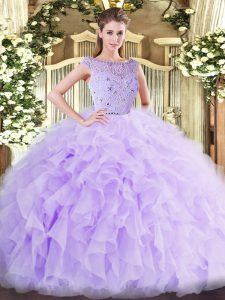 Exquisite Lavender Bateau Neckline Beading and Ruffles Quinceanera Gown Sleeveless Zipper