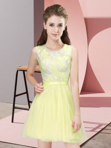 Yellow Sleeveless Lace Mini Length Court Dresses for Sweet 16