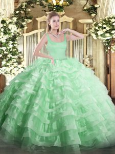 Attractive Apple Green Sleeveless Floor Length Beading and Ruffled Layers Zipper Quinceanera Gowns