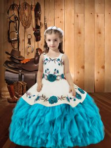 Trendy Baby Blue Sleeveless Floor Length Embroidery and Ruffles Lace Up Girls Pageant Dresses