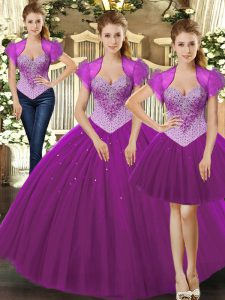 Fabulous Sleeveless Beading Lace Up Sweet 16 Quinceanera Dress