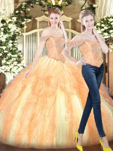 New Arrival Floor Length Ball Gowns Sleeveless Gold Quinceanera Dresses Lace Up