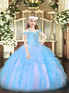 Baby Blue Ball Gowns Beading and Ruffles Pageant Dress for Girls Lace Up Organza Sleeveless Floor Length