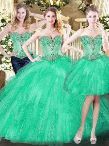Chic Green Sleeveless Floor Length Beading and Ruffles Lace Up Quinceanera Dress