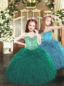 New Style Sleeveless Floor Length Beading and Ruffles Lace Up Child Pageant Dress with Dark Green