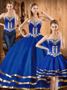Decent Floor Length Three Pieces Sleeveless Blue Sweet 16 Dress Lace Up