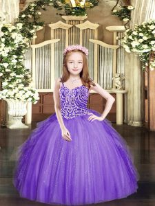 Lavender Sleeveless Tulle Lace Up Pageant Gowns For Girls for Party and Quinceanera