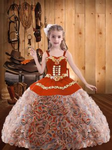 Multi-color Lace Up Little Girls Pageant Gowns Embroidery and Ruffles Sleeveless Floor Length