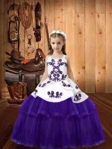 Purple Ball Gowns Tulle Straps Sleeveless Embroidery Floor Length Lace Up Little Girls Pageant Gowns