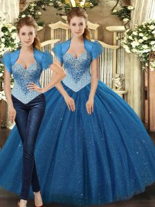 Teal Ball Gowns Tulle Straps Sleeveless Beading Floor Length Lace Up Quinceanera Gowns