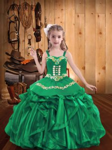 Turquoise Organza Lace Up Girls Pageant Dresses Sleeveless Floor Length Embroidery and Ruffles