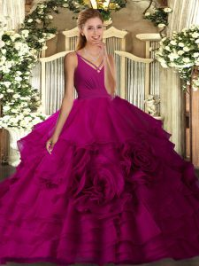 Best Floor Length Fuchsia Quinceanera Gowns V-neck Sleeveless Backless