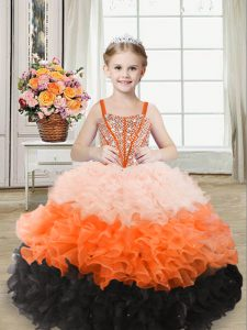 Multi-color Little Girls Pageant Gowns Sweet 16 and Quinceanera with Beading and Ruffles Straps Sleeveless Lace Up