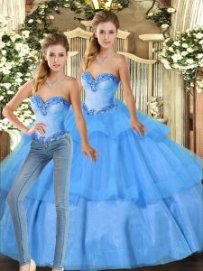 Noble Baby Blue Ball Gowns Beading and Ruffled Layers Quinceanera Dresses Lace Up Organza Sleeveless Floor Length