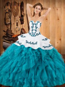 Teal Sleeveless Floor Length Embroidery and Ruffles Lace Up Sweet 16 Dress