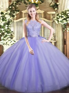 Free and Easy Lace 15 Quinceanera Dress Lavender Backless Sleeveless Floor Length