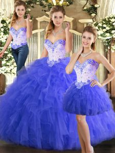 Gorgeous Sleeveless Beading and Ruffles Lace Up Vestidos de Quinceanera