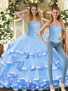 Hot Selling Floor Length Baby Blue Sweet 16 Dresses Tulle Sleeveless Beading and Ruffled Layers
