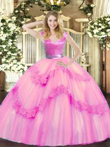 Rose Pink Vestidos de Quinceanera Military Ball and Sweet 16 and Quinceanera with Beading and Appliques V-neck Sleeveless Zipper