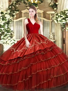 Spectacular Floor Length Zipper Quince Ball Gowns Wine Red for Military Ball and Sweet 16 with Embroidery and Ruffled Layers