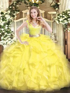 Yellow Ball Gowns V-neck Sleeveless Tulle Floor Length Zipper Beading and Ruffles Quinceanera Dresses