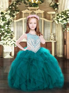 Floor Length Zipper Little Girl Pageant Dress Teal for Party and Quinceanera with Beading and Ruffles
