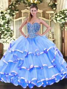 Baby Blue Sleeveless Beading and Ruffled Layers Floor Length Quinceanera Gown