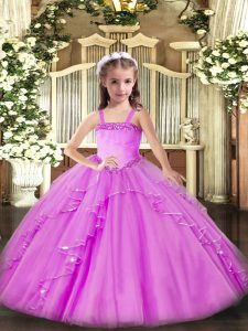 Sleeveless Appliques and Ruffles Lace Up Winning Pageant Gowns