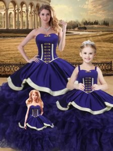 Noble Sweetheart Sleeveless Lace Up Quinceanera Dress Purple Satin and Organza