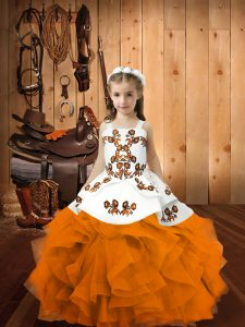 Floor Length Lace Up Kids Formal Wear Orange for Party and Sweet 16 and Quinceanera and Wedding Party with Embroidery and Ruffles
