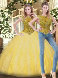 Best Selling Scoop Sleeveless Zipper Sweet 16 Dresses Yellow Tulle