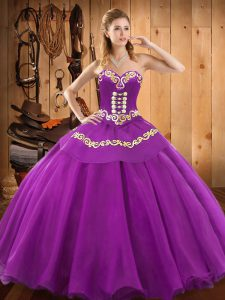 Custom Design Satin and Tulle Sleeveless Floor Length 15th Birthday Dress and Embroidery
