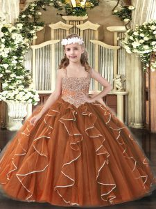 Straps Sleeveless Tulle Little Girls Pageant Gowns Beading and Ruffles Lace Up