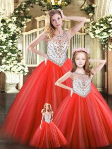 Graceful Floor Length Lace Up 15th Birthday Dress Red for Military Ball and Sweet 16 and Quinceanera with Beading
