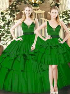 Dark Green Ball Gown Prom Dress Military Ball and Sweet 16 and Quinceanera with Beading and Ruching Straps Sleeveless Lace Up
