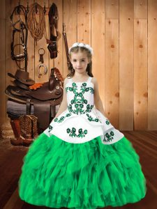 Floor Length Ball Gowns Sleeveless Turquoise Kids Pageant Dress Lace Up