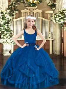 Wonderful Scoop Sleeveless Little Girl Pageant Gowns Floor Length Beading and Ruffles Royal Blue Tulle