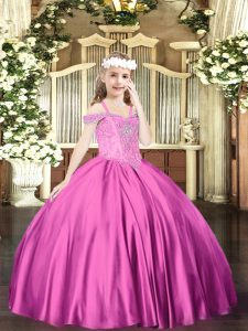 Sleeveless Beading Lace Up Child Pageant Dress