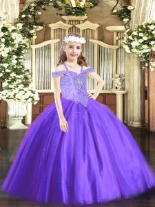 Lavender Lace Up Little Girl Pageant Dress Beading Sleeveless Floor Length