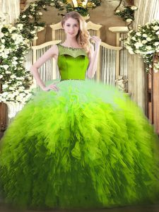 Multi-color Sleeveless Beading and Ruffles Floor Length Ball Gown Prom Dress