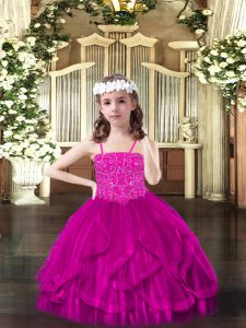 Fuchsia Ball Gowns Tulle Spaghetti Straps Sleeveless Beading and Ruffles Floor Length Lace Up Pageant Dress Wholesale
