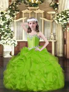 Charming Sleeveless Organza Lace Up Little Girls Pageant Gowns for Party and Quinceanera