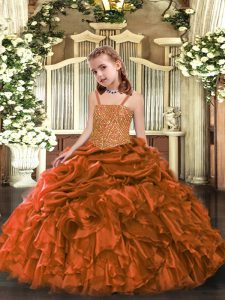 Wonderful Straps Sleeveless Organza Little Girl Pageant Gowns Beading and Ruffles Zipper