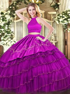 Beading and Embroidery and Ruffled Layers Quinceanera Dress Fuchsia Backless Sleeveless Floor Length