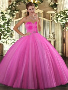 Smart Tulle Sweetheart Sleeveless Lace Up Beading Quinceanera Dresses in Rose Pink