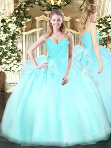 Ruffles Ball Gown Prom Dress Light Blue Zipper Sleeveless Floor Length